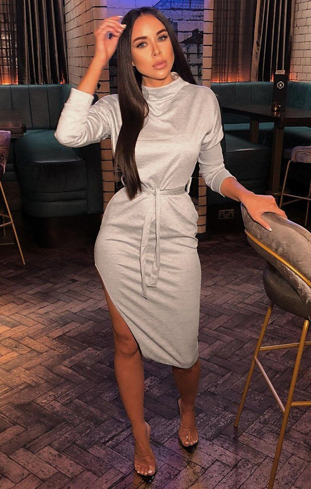Grey High Neck Slit Midi Dress - Lily