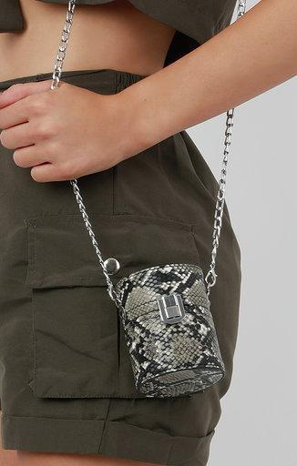 Grey Snake Print Cylindrical Shoulder Bag - Freya