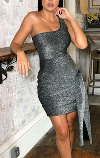 Grey Sparkly One Shoulder Tie Side Dress - Alise