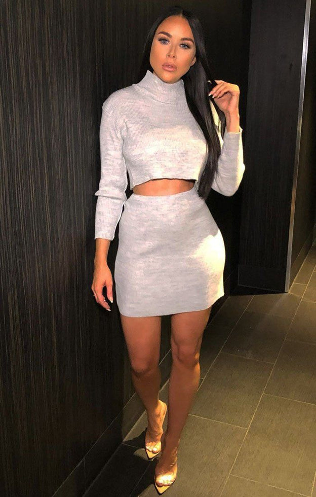 Grey Ribbed Crop Top And Skirt Co-ord - Celeste