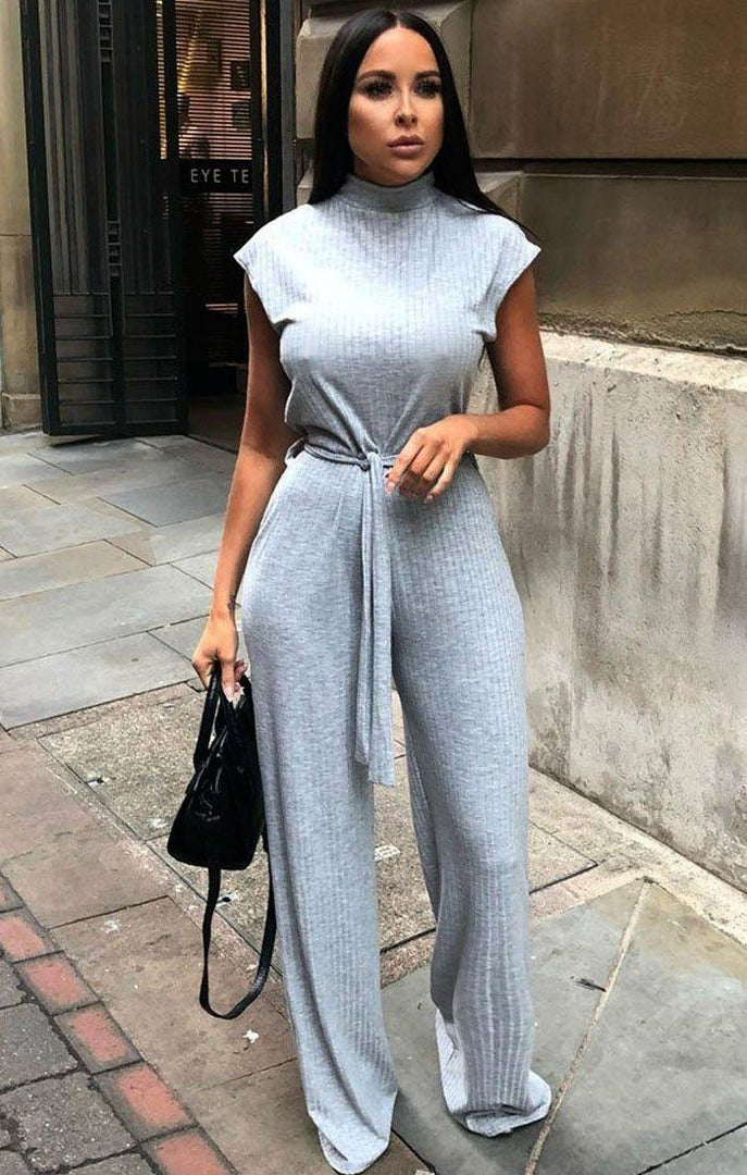 Grey High Neck Ribbed Jumpsuit - Yasmine