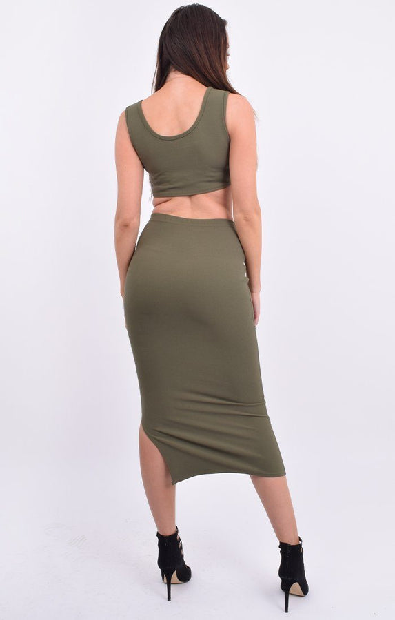 Khaki Crop Top & Midi Bodycon Skirt Co-ord - Harli