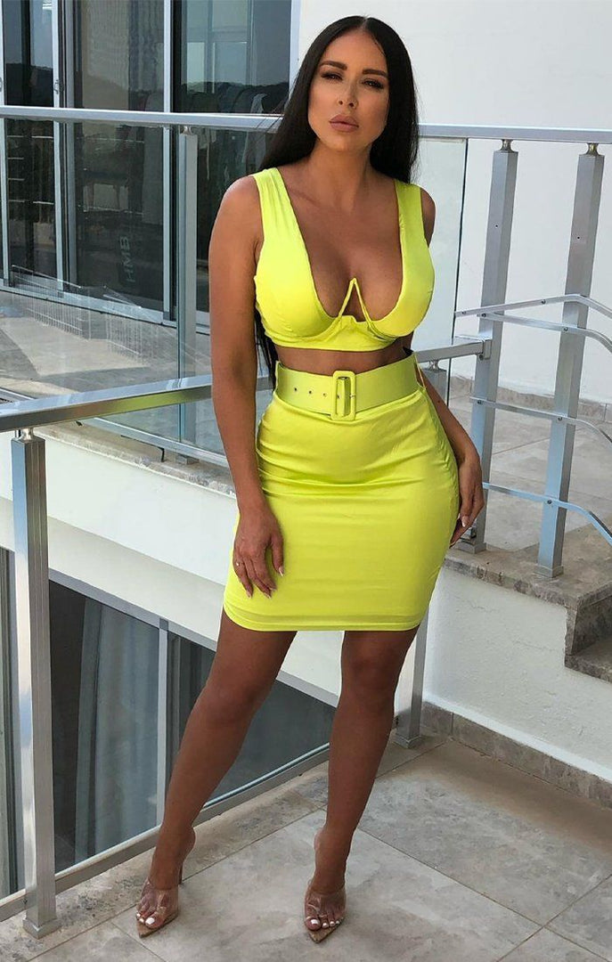 Lime Thick Strap Wired Top & Belted Skirt Co-Ord - Pearl