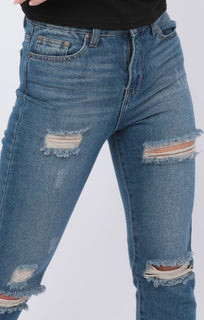 Mid Wash Distressed Ripped Mom Jeans - Cora