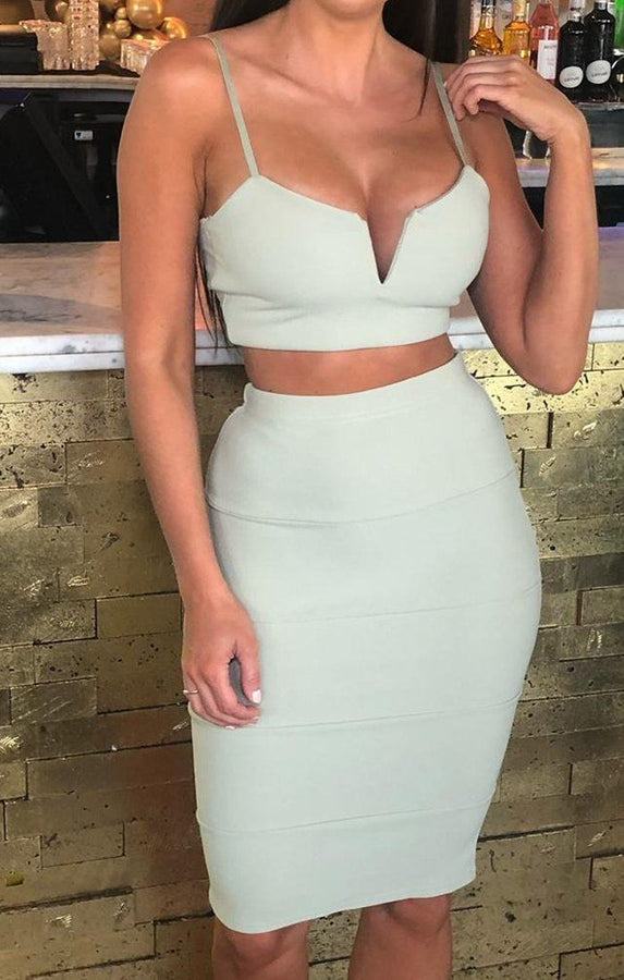 Mint Bandage Crop Top & Midi Skirt Co-ord - Elysia