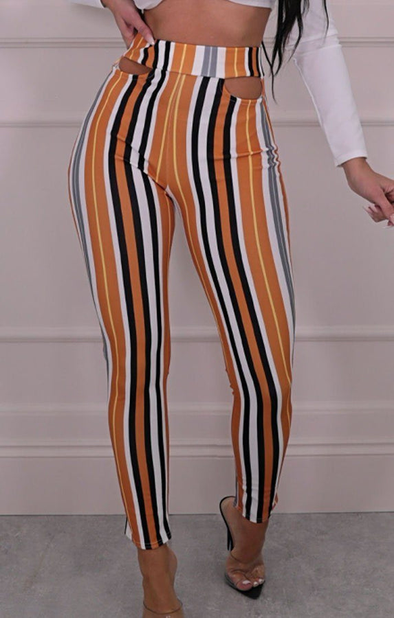 Mustard Multicoloured Stripe Slim Leg Trousers - Olah