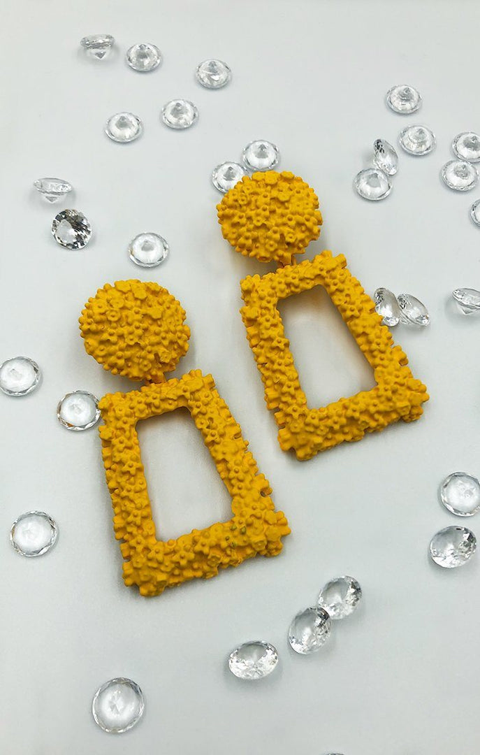 Mustard Square Textured Earrings - Cleo