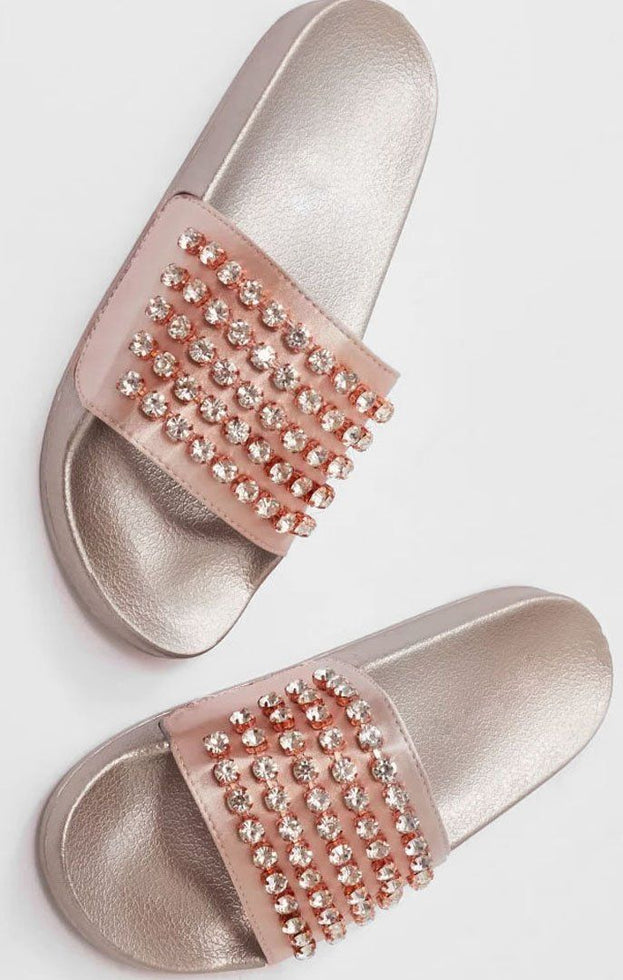 Rose Gold Diamante Sliders - Sinead