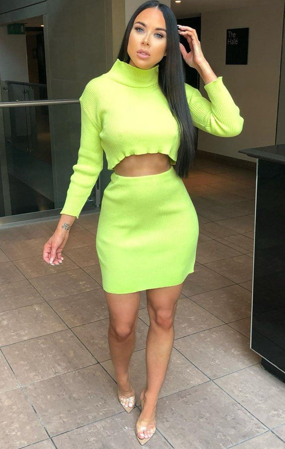 Neon lime Ribbed Crop Top And Skirt Co-ord - Celeste