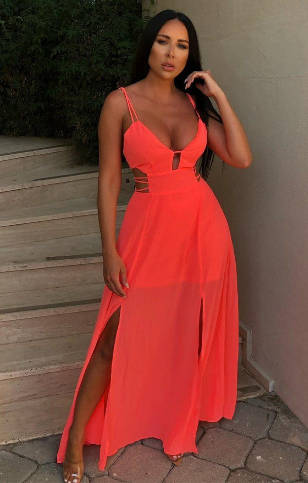 Neon Coral Double Split Maxi Dress - Adelyn