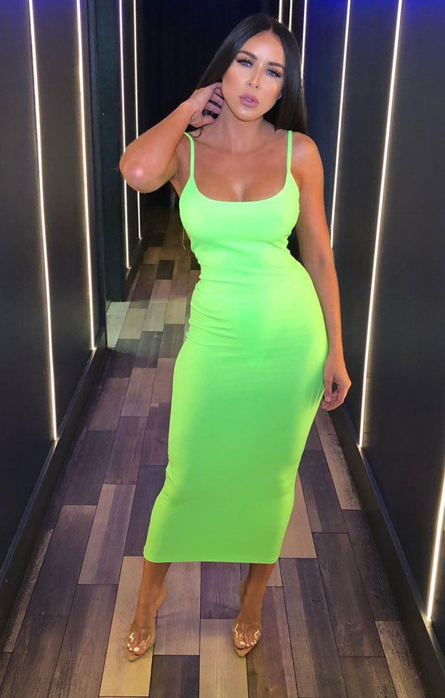 Neon Green Cami Strap Maxi Dress - Serenna