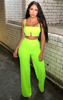 Neon Green Flare Leg & Split Top co-ord - Bexx