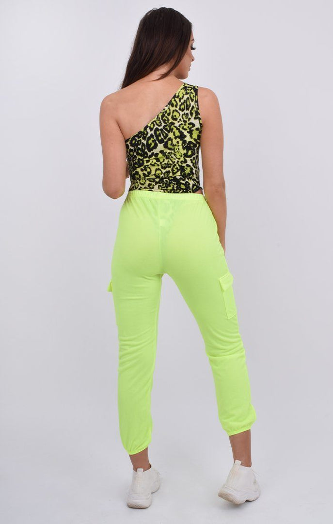 Neon Green Leopard Print One Shoulder Bodysuit - Mab