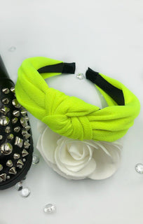 Neon Green Twist Front Headband - Kaleey