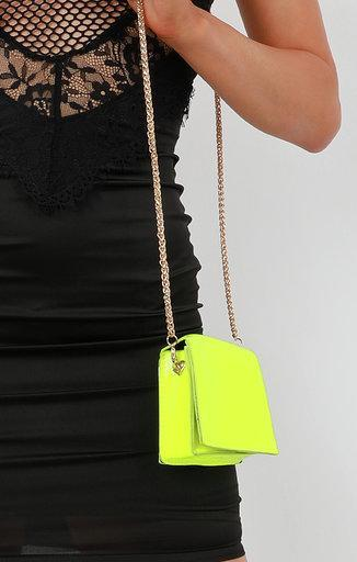 Neon Lime Chain Link Shoulder Mini Bag - Jackie