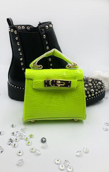 Neon Lime Green Micro Mini Bag - Laura