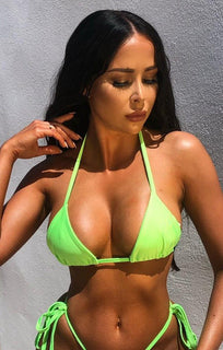 Neon Lime Green Ruched Halterneck String Bikini Top - Julia