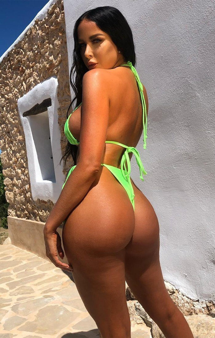 Neon Lime Green Ruched High Waisted String Bikini Bottoms - Brynn