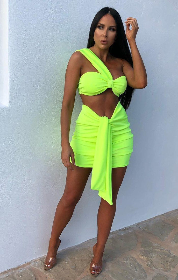 Neon Lime One Shoulder Knot Bralette Top - Julie