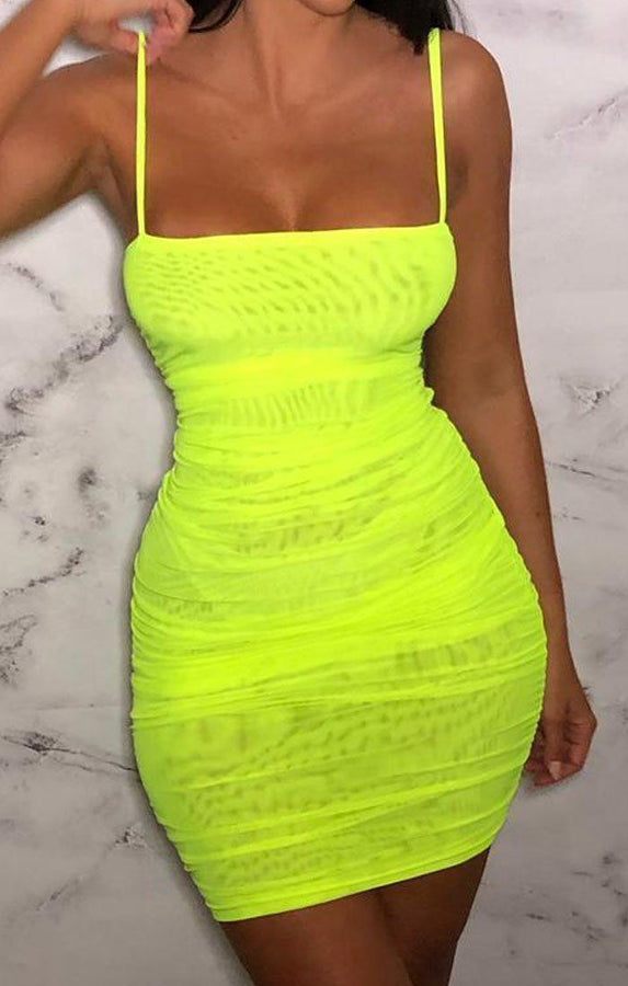 Neon Lime Ruched Mesh Mini Dress - Beth