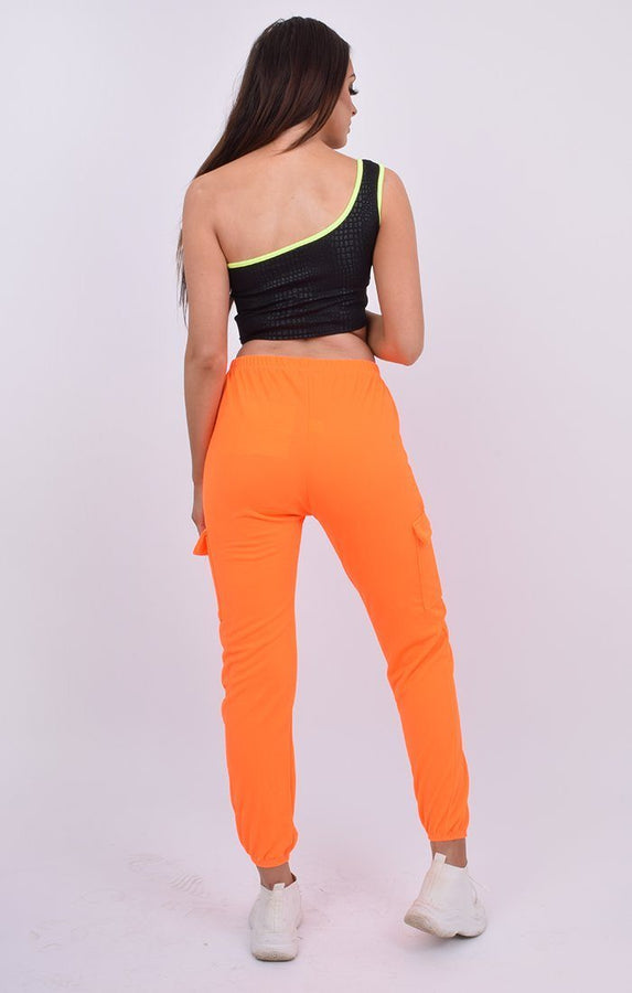 Neon Orange Cuffed Cargo Trousers - Nell