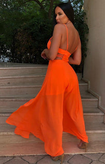 Neon Orange Double Split Maxi Dress - Adelyn