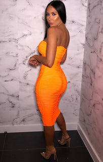 Neon Orange Strapless Ruched Midi Dress - Salma