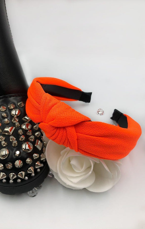 Neon Orange Twist Front Headband - Kaleey