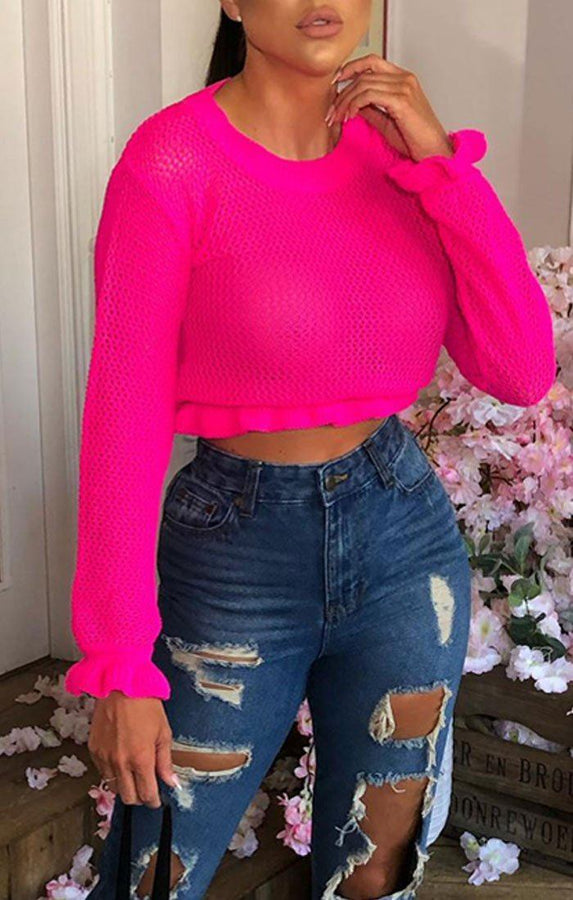 Neon Pink Knitted Frill Jumper - Aditi