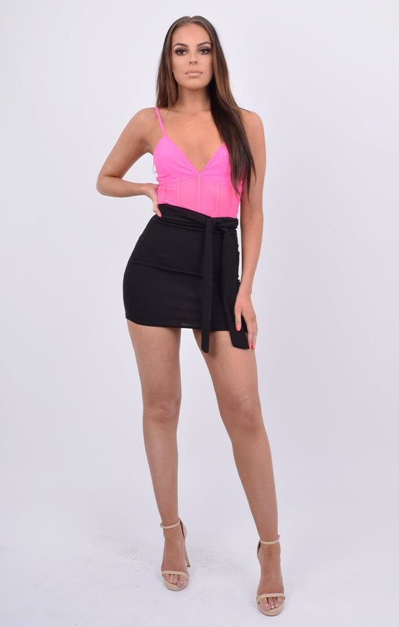 Neon Pink Mesh Panel Strappy Bodysuit - Oma