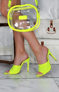 Neon Yellow Lycra Mules - Reign