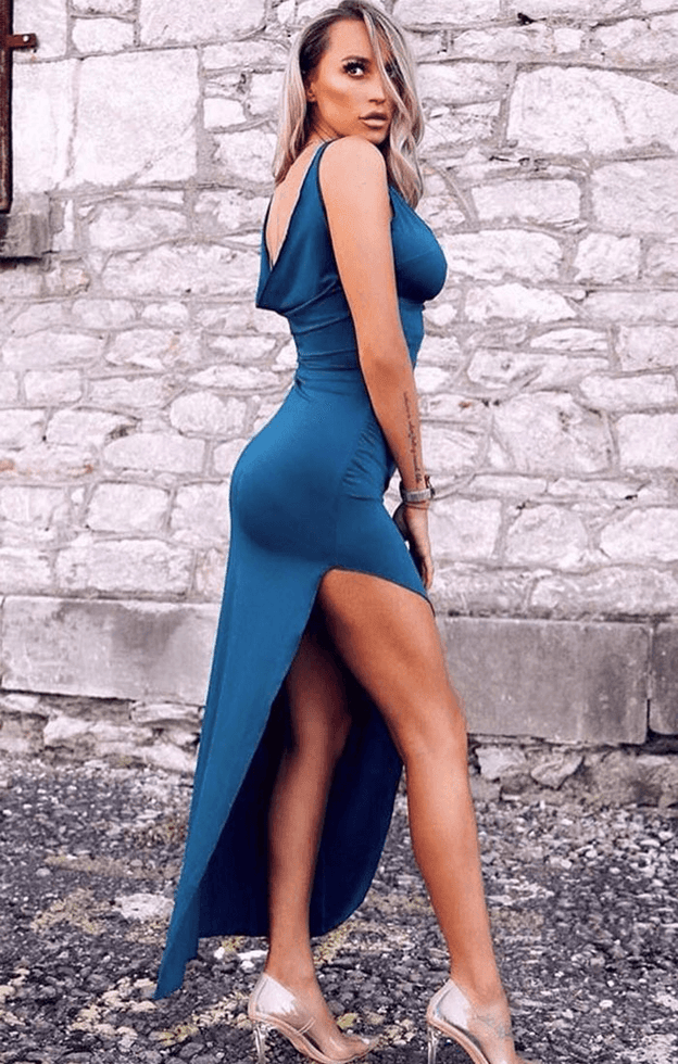 Blue Open Back Split Leg Maxi Dress - Nikki