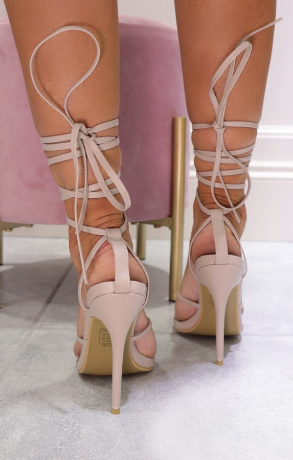 Nude Faux Leather Lace Up Toe Ring Heels - Grazia