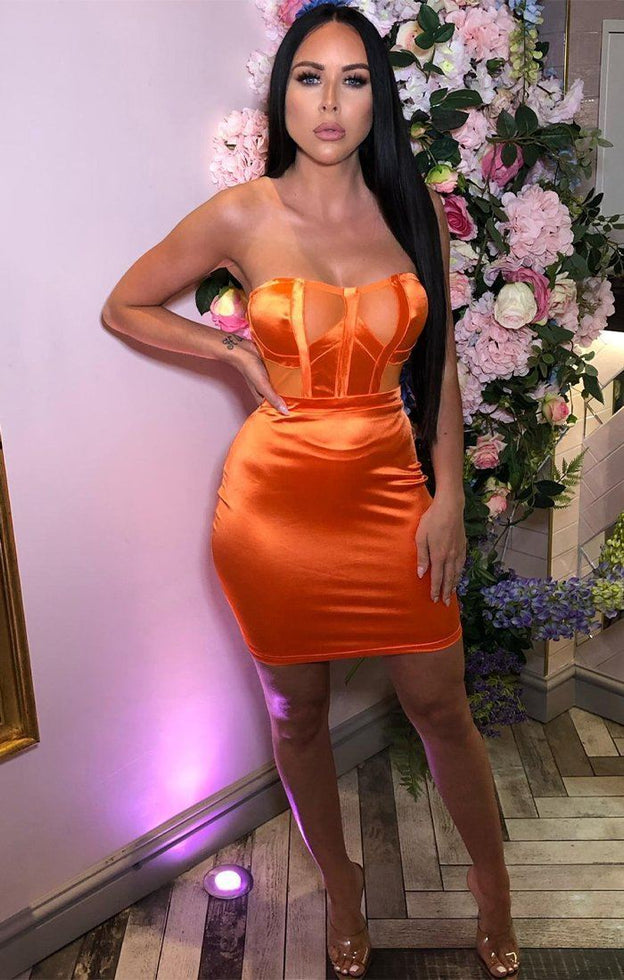 Orange Satin Mesh Panel Dress - Heven