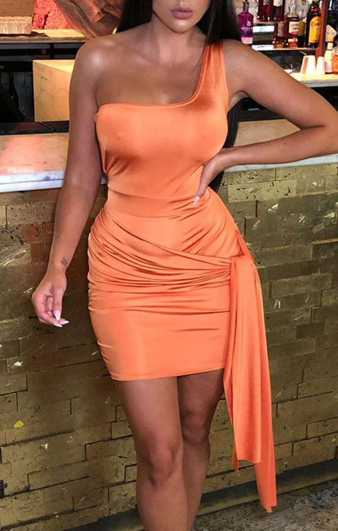 Orange Slinky One Shoulder Tie Side Dress - Alise