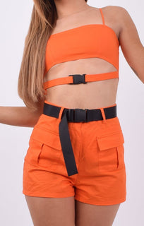 Orange Utility Cut Out Crop Top & Shorts Co-ord - Maizie