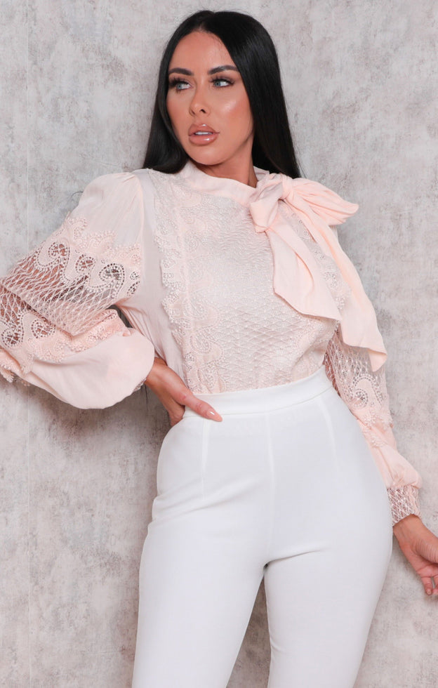 Peach Crochet Tie Back Long Sleeve Crop Top - Hayden