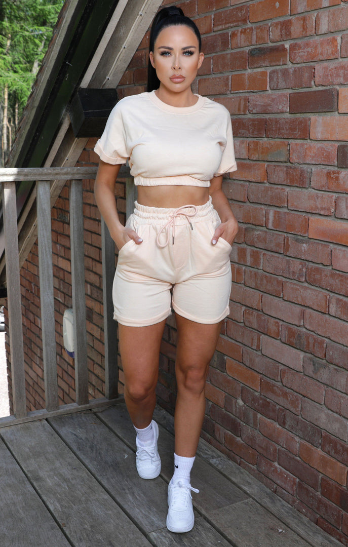 Peach Crop Top Drawstring Shorts Co-ord - Nicola