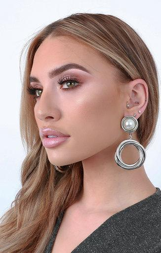 Pearl & Silver Round Twisted Earrings - Reba
