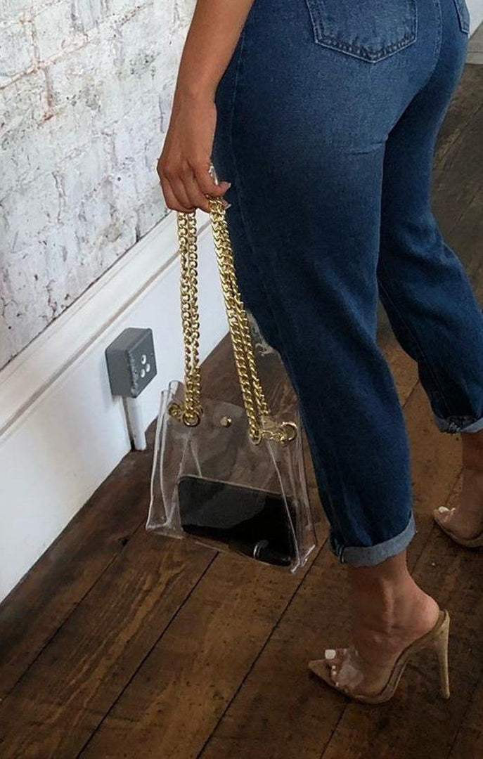 Perspex Clear Gold Chain Bag - Irene