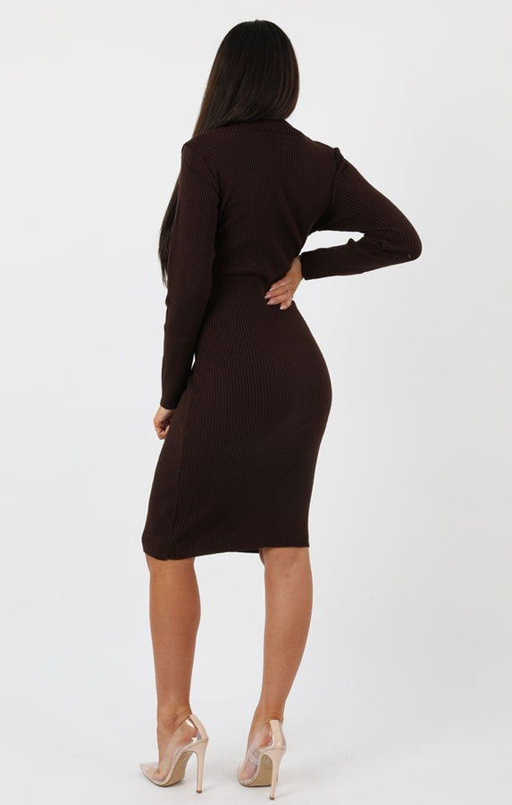 Brown Knitted Ribbed Long Sleeved Midi Dress - Ellis