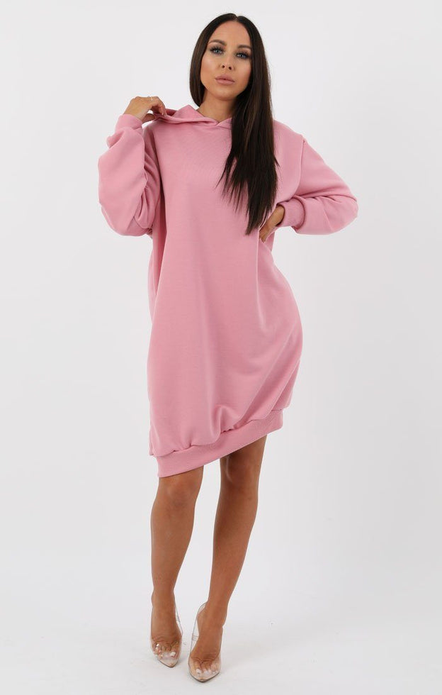 Pink Hooded Sweater Dress - Avery