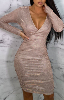 Pink Glitter Long Sleeve Plunge Bodycon Midi Dress - Louise