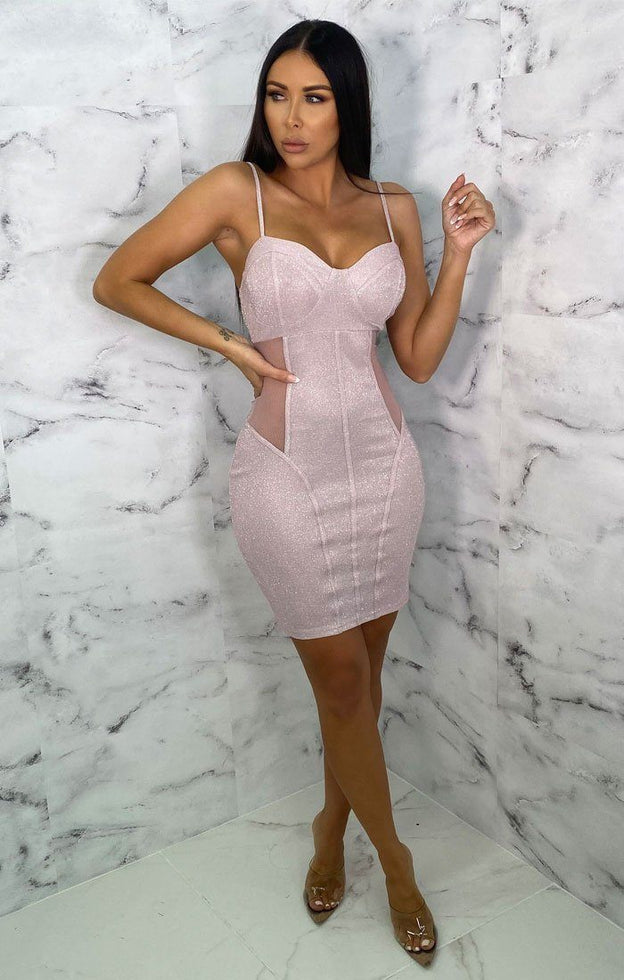 Pink Glitter Mesh Panel Corset Bodycon Mini Dress - Emma