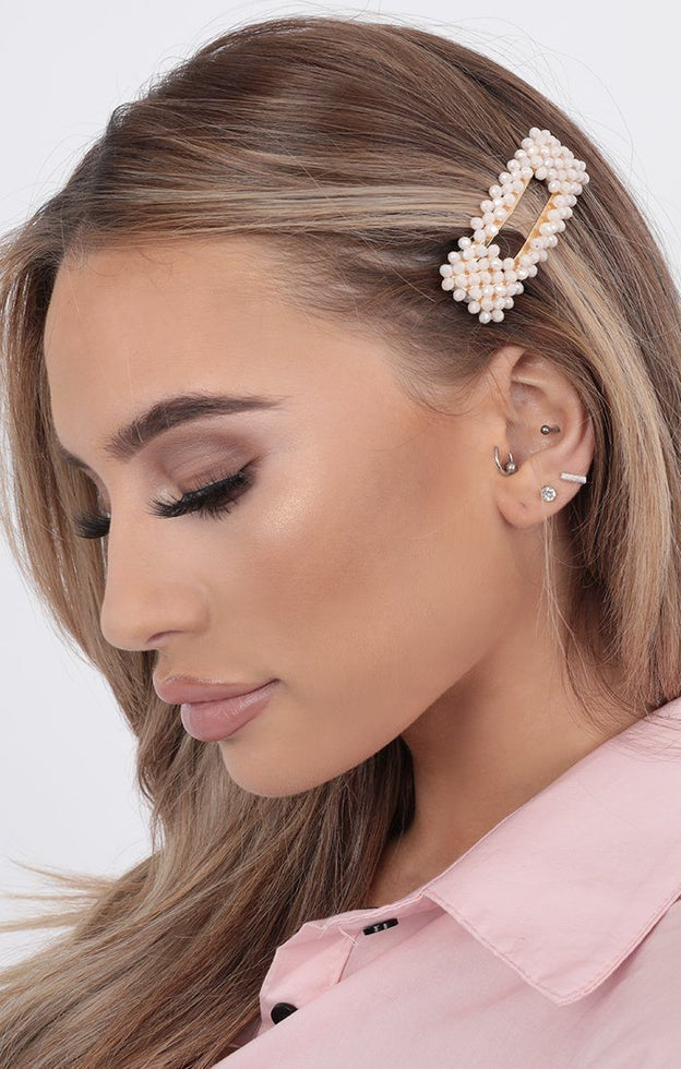 Pink Pearl Rectangle Hair Clip - Gene