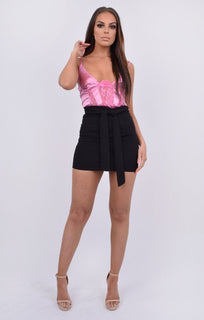 Pink Satin Lace Panel Bodysuit - Jayda