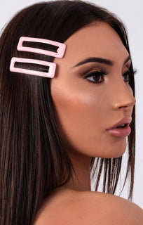 Pink Square 2 Pack Hair Clips - Aurora