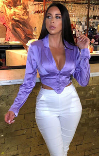 Purple Satin Corset Shirt Top - Luciee