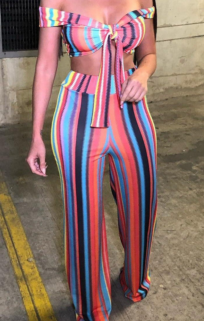 Rainbow Zig Zag Bralette And Trouser Co-ord - Kodi