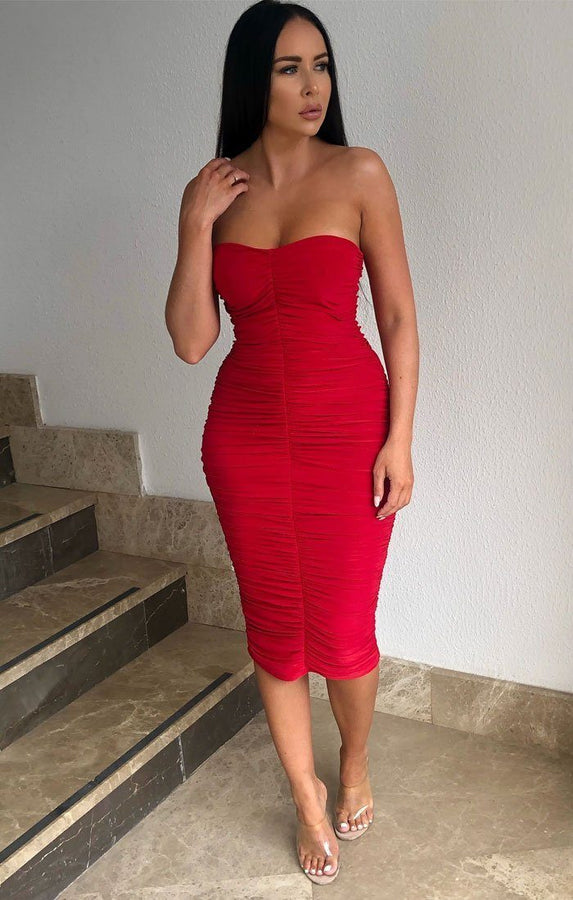 Red Ruched Strapless Bodycon Midi Dress - Vita